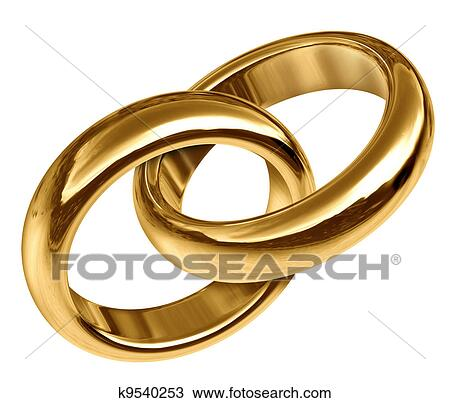 Stock Photo of Gold Wedding Rings Linked Together k9540253 Search
