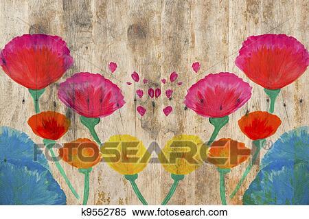 stock bild farbe blumen in aquarell hand malen auf holz hintergrund k9552785 suche. Black Bedroom Furniture Sets. Home Design Ideas