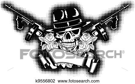 Tommy Gun Gangster Drawings Clipart of gangster an...