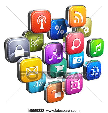 clip art of software concept cloud of program icons k9559832 rh fotosearch com software clipart definition cliparts software free download