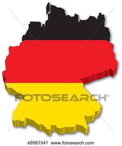Clipart Of D Germany Map With Flag K Search Clip Art - Germany map eps