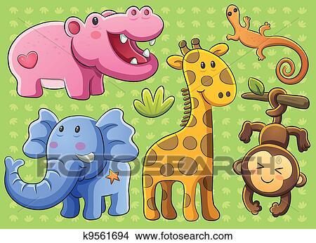 剪贴画 漂亮, 动物, 收集