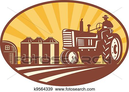 Clip Art of Farmer Driving Vintage Tractor Retro Woodcut ...