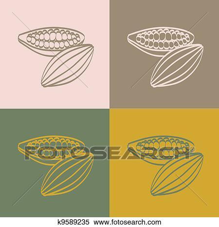 イラスト - ココア, 豆. Fotosearch - クリップアート、... ココア, 豆k9