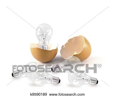 Banque de photographies oeuf cass les et lampe est for Lampe dehors