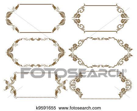 Clipart - set, di, ornare, vettore, cornici k9591655 - Cerca ...