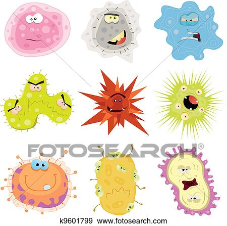 Illustration of a cartoon set of various funny microbes germs virus