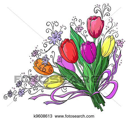 Dessin fleur tulipes bouquet k9608613 recherchez des - Dessins de bouquets de fleurs ...