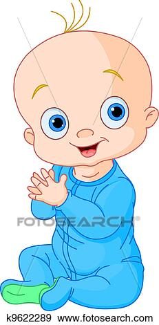 Clip Art of Cute baby boy clapping hands k9622289 - Search ...
