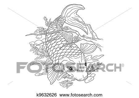 Archivio illustrazioni carpa koi tatuaggio k9632626 for Carpa giapponese prezzo