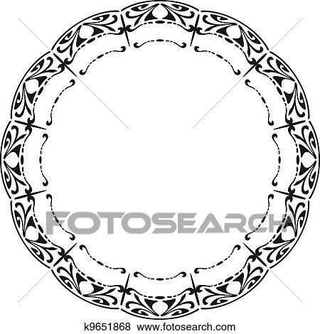 clip art of rounded frame in the style of art nouveau k9651868 rh fotosearch com art nouveau clip art free art nouveau clipart