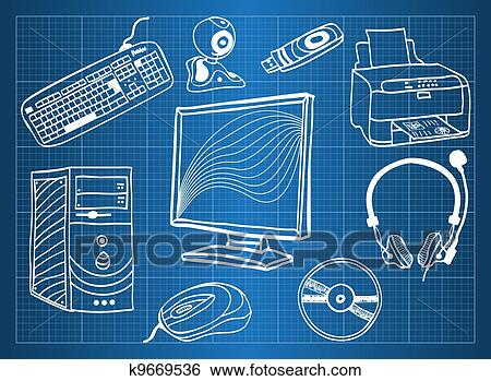 Clip art of blueprint of computer hardware peripheral devices clip art blueprint of computer hardware peripheral devices fotosearch search clipart malvernweather Image collections