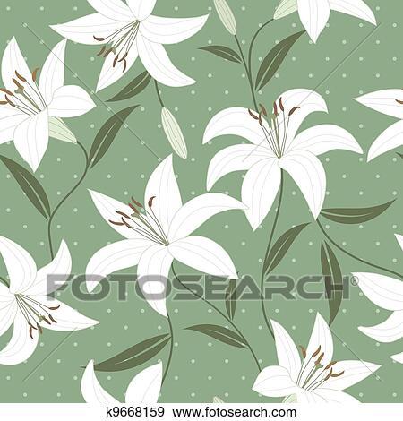 失量图库 - seamless, 墙纸, 带, 百合花, 花