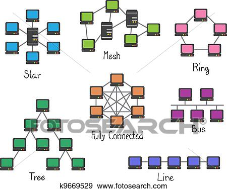 Clip Art of Illustration of network topology - computer network ...