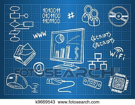 剪贴画 蓝图, 在中, 计算机硬件, 同时,, 信息技术, 符号 k
