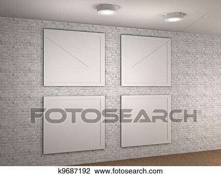 Clip art of illustration of a empty museum wall with 4 frames clip art illustration of a empty museum wall with 4 frames fotosearch search sciox Images