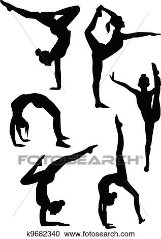 clipart of girls gymnasts silhouettes k9682340 search