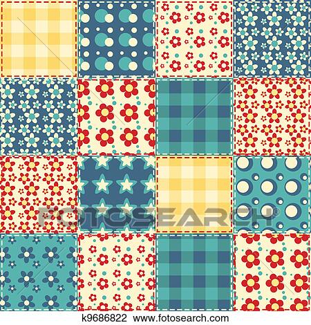 Clipart of Quilt seamless pattern 3 k9686822 - Search Clip ...Quilt Drawing