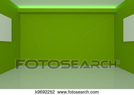 Clip Art of empty room interior design for living room k9692252