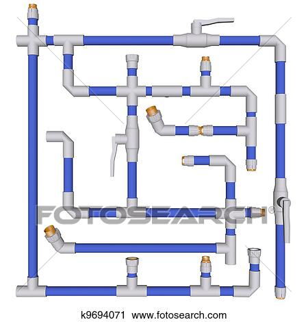 Clipart of Pipes connected Fittings k9694071 - Search Clip Art ...