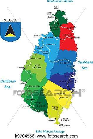Clip Art of Caribbean island of Saint Lucia map k9704556 Search