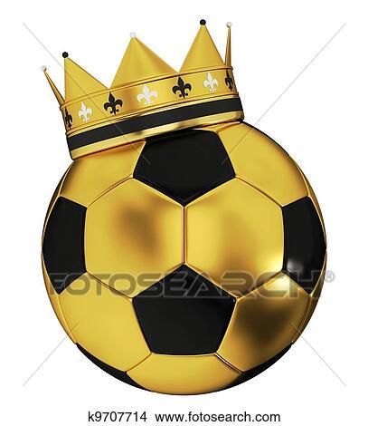 手绘图 - 足球, 带, 王冠图片