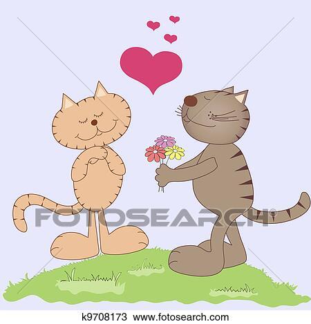 手绘图 - 二, 猫, 在爱中图片