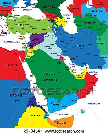 Clip Art of Middle east political map k9704547 Search Clipart