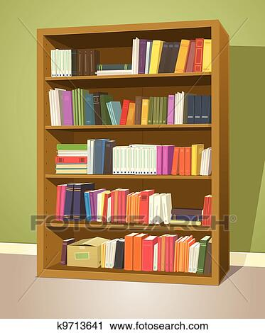 Library Bookshelf Clipart Clipart of Library Boo...