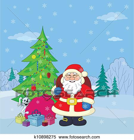 剪贴画 - 圣诞老人, 在中, 冬季, 森林图片