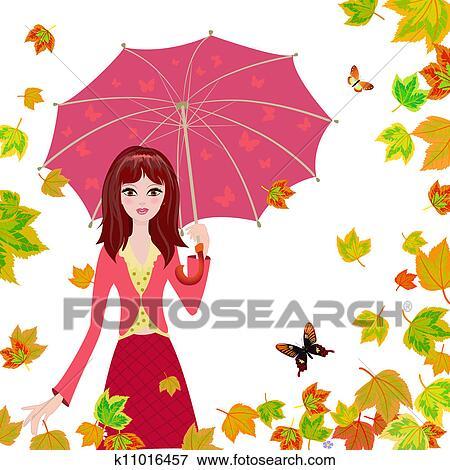 剪贴画 - 女孩, 带, 一, 伞, 在中, the, 秋季, 落下的树叶.图片