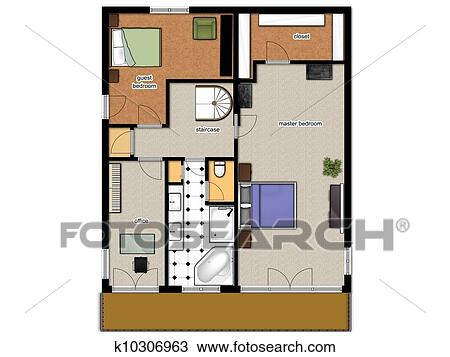 Drawing of 2D floor plan of the house second level k