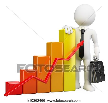 stock illustration of 3d businessman white people bar graph rh fotosearch com