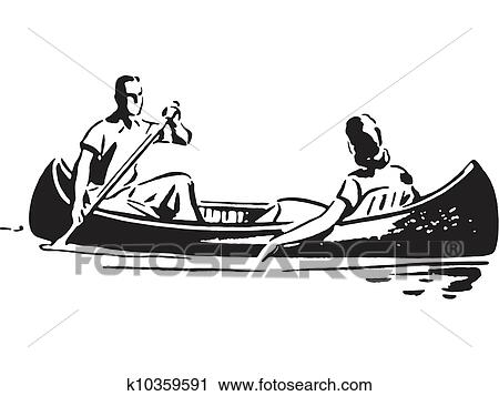 A Black And White Version Of Couple In Canoe