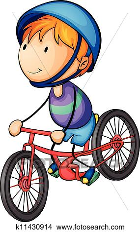 Clipart of a boy riding on a bicycle k11430914 - Search ...