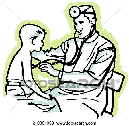A Vintage Drawing Of Doctor Having Consultation