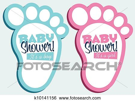 Clip art of baby shower invitations k10141156 search clipart baby feet invitation cards filmwisefo
