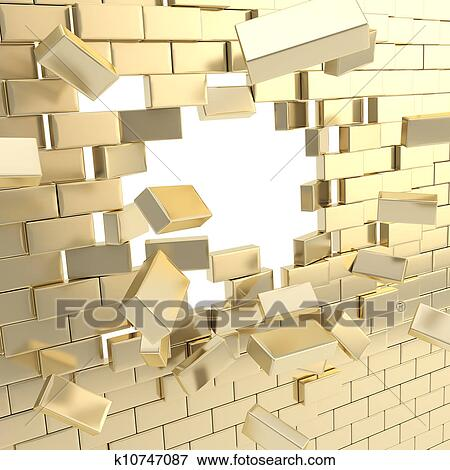 Stock Illustration of Broken into pieces brick wall with k10747087 ...
