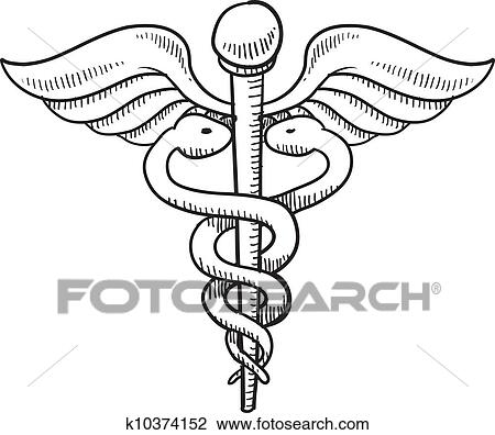 Clipart Of Caduceus Medical Symbol Sketch K10374152 Search Clip