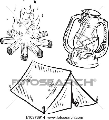 Clipart Of Camping Equipment Sketch K10373914
