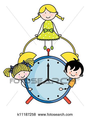 clip art of children with an alarm clock k11187258 search clipart rh fotosearch com alarm clipart free alarm clipart black and white