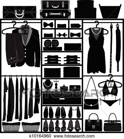 A Set Of Man And Woman Clothing Accessories In Closet
