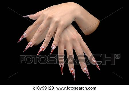 Stock photograph of closeup of hand of young woman long nail art stock photograph closeup of hand of young woman long nail art manicure on nails prinsesfo Image collections