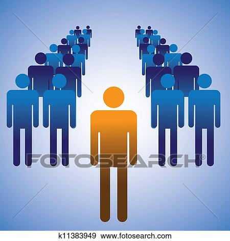 Clip Art Of Concept Illustration Employees And Manager The