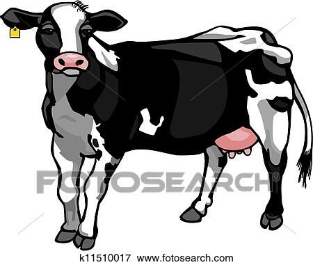 clip art of dairy cow k11510017 search clipart illustration rh fotosearch com clip art dairy cow silhouette dairy cow head clipart
