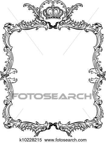 clipart of decorative vintage ornate frame vector illustration rh fotosearch com free ornate vintage frame vector ornate frame vector graphics