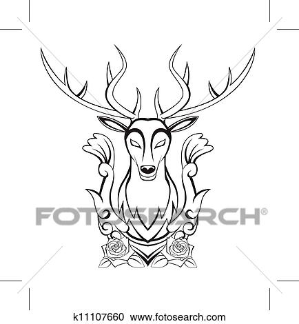 Clipart Of Deer Symbol K11107660 Search Clip Art Illustration