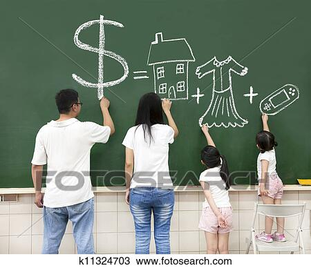 Stock Photo Of Family Drawing Money House Clothes And Video Game