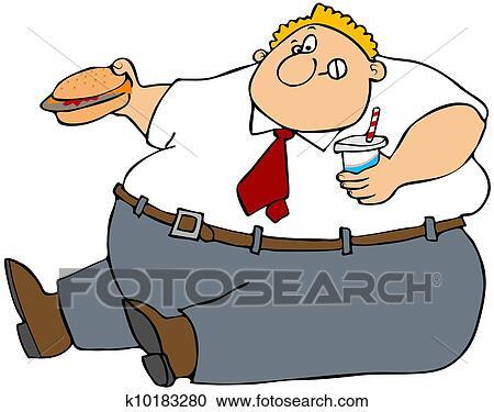 stock illustrations of fat man eating junk food k10183280 search rh fotosearch com Fat Guy Exercising Clip Art Fat Guy Eating Cartoon