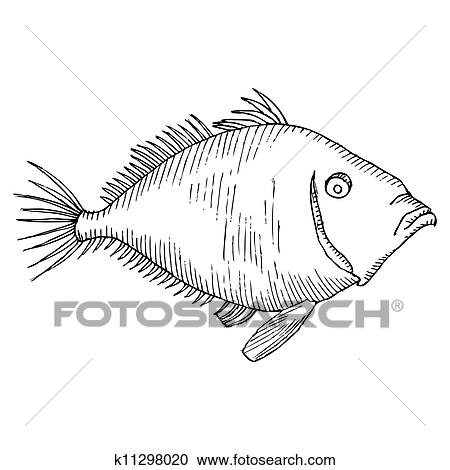 Black and white fish drawing